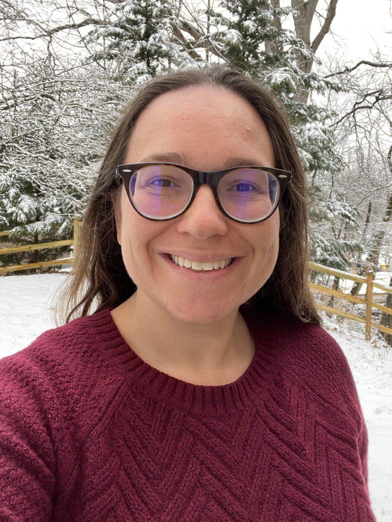 Caroline Boice outside on a snowy day